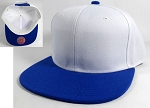 Wholesale Blank Snapback Hats Caps - White | Blue