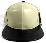 Faux Leather Blank Snapbacks Wholesale - Khaki | Black
