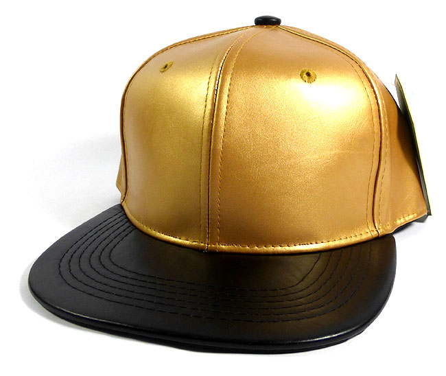 Faux Leather Blank Snapback Hats Wholesale - Gold  403e866667a