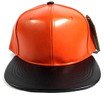 Faux Leather Blank Snapback Hats Wholesale - Orange | Black