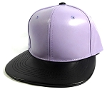 Faux Leather Blank Snapbacks Wholesale - Pastel Purple | Black