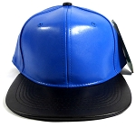 Faux Leather Blank Snapback Caps Wholesale - Blue | Black