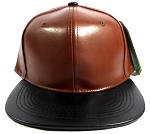 Faux Leather Blank Snapbacks Cap Wholesale - Medium Brown | Black