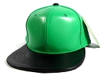 Faux Leather Blank Snapbacks Wholesale - Green | Black