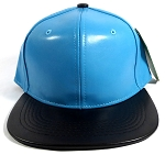 Faux Leather Blank Snapbacks Wholesale - Light Blue | Black