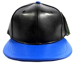 Faux Leather Blank Snapback Caps Wholesale - Black | Blue