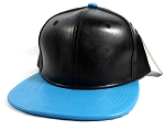 Faux Leather Blank Snapback Caps Wholesale - Black | Light Blue
