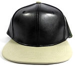 Faux Leather Blank Snapback Hats Wholesale - Black | Khaki