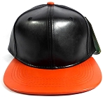 Faux Leather Blank Snapback Hats Wholesale - Black | Orange