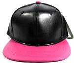Faux Leather Plain Snapbacks Wholesale - Black | Hot Pink