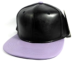 Faux Leather Plain Snapbacks Wholesale - Black | Pastel Purple