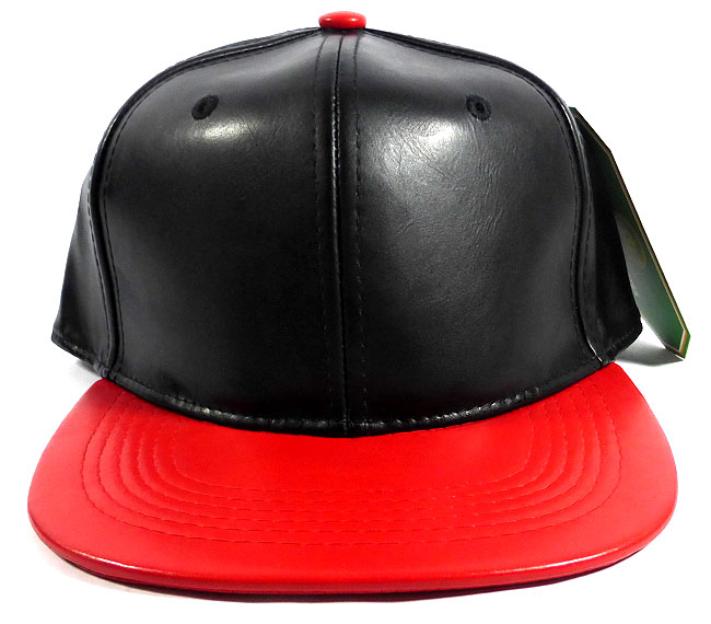 Faux Leather Plain Snapback Caps Wholesale - Black | Red