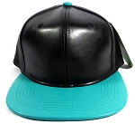 Faux Leather Plain Snapbacks Wholesale - Black | Turquoise