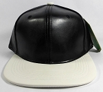 Faux Leather Plain Snapback Caps Wholesale - Black | White