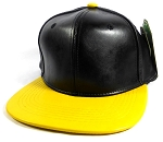 Faux Leather Plain Snapback Caps Wholesale - Black | Yellow