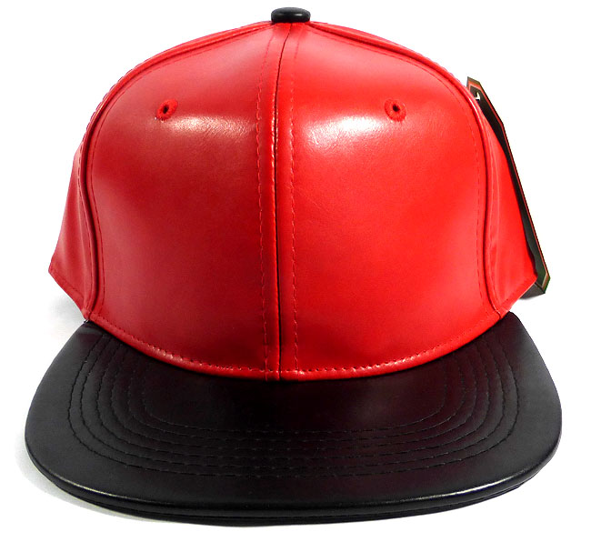 Faux Leather Plain Snapback Hats Wholesale - Red  bf262ca6008a