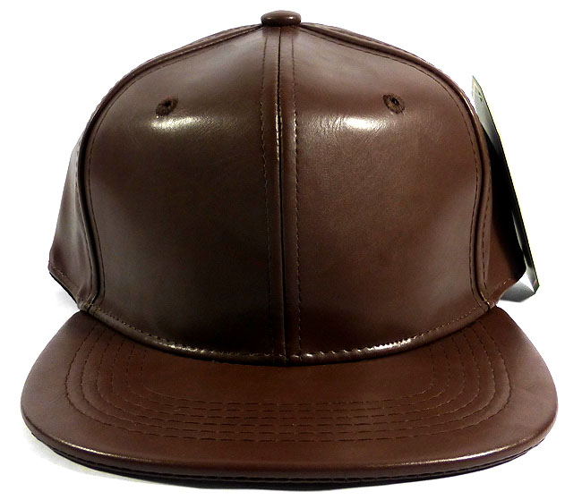 blank faux leather snapback hats wholesale auburn brown