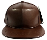 Blank Faux Leather Snapback Hats Wholesale - Auburn Brown