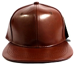 Plain Faux Leather Snapback Hats Wholesale - Medium Brown