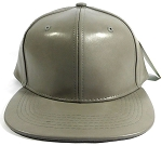 Plain Faux Leather Snapback Hats Wholesale - Gray