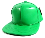 Plain Faux Leather Snapback Hats Wholesale - Green
