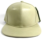 Plain Faux Leather Snapback Hats Wholesale - Khaki
