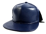 Plain Faux Leather Snapback Hats Wholesale - Navy Blue