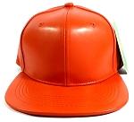 Blank Faux Leather Snapback Hats Wholesale - Orange