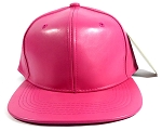 Plain Women's Faux Leather Snapbacks Wholesale - Hot Pink