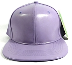 Plain Faux Leather Snapbacks Wholesale - Pastel Purple
