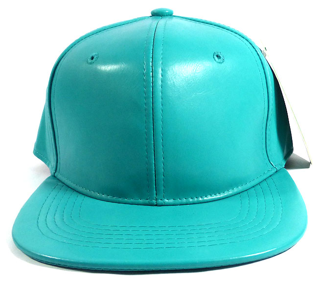Home   ALL HATS   Plain Faux Leather Snapback Hats Wholesale - Turquoise f3ad8a84a6a