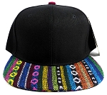 Aztec Blank Snapback Hats Wholesale - Black