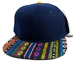 Wholesale Aztec Blank Snapback Hats - Navy