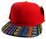 Wholesale Aztec Blank Snapback Hats - Red