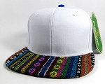 Wholesale Native Aztec Plain Snapback Hats - White