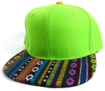 Wholesale Native Aztec Plain Snapback Hats - Lime Green