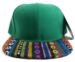 Wholesale Native Aztec Plain Snapback Hats - Green