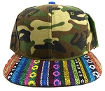Wholesale Native Aztec Plain Snapback Hats - Green Camo