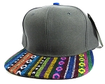 Wholesale Native Aztec Plain Snapback Hats - Gray