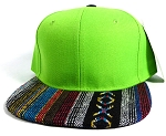 Wholesale Aztec Native Blank Snapbacks Caps - Lime Green