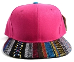 Wholesale Aztec Native Blank Snapbacks Caps - Hot Pink
