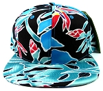 Blank Snapback Hats Caps Wholesale - Blue Coral Print
