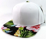 Blank Hawaiian Floral Snapback Hats Wholesale - White | Black