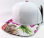 Blank Hawaiian Floral Snapback Hats Wholesale - White | Pink