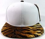 Blank Tiger Snapback Hats Caps Wholesale - White