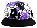 Wholesale Blank Hawaiian Floral Snapback Hats - Purple Hibiscus