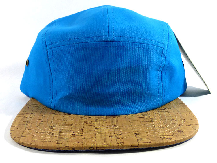 Wholesale Blank Wooden Cork 5-Panel Caps Hats - Blue  dde0fbf1426