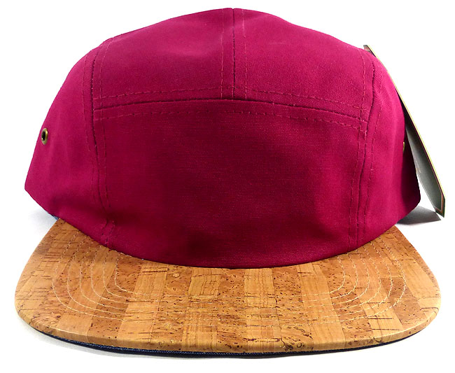 1d555348e3b09 Wholesale Blank Wooden Cork 5-Panel Hats Caps - Burgundy