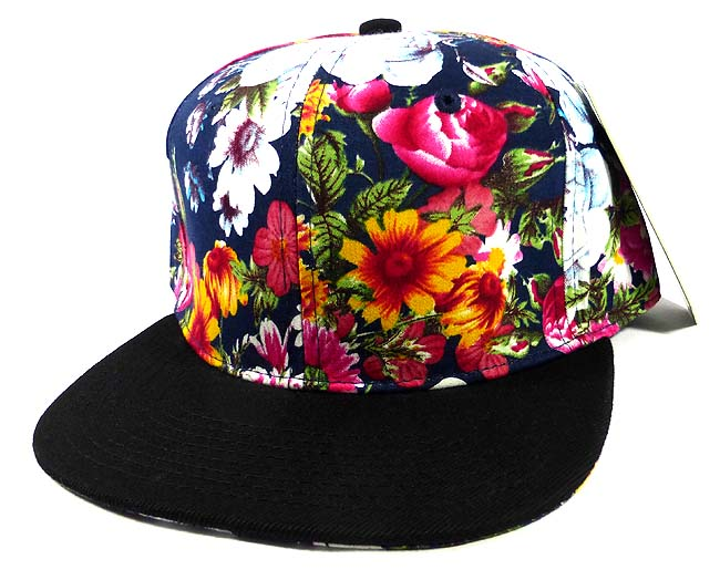 4cfaef70b9c Wholesale Blank Floral Snapback Caps - Black