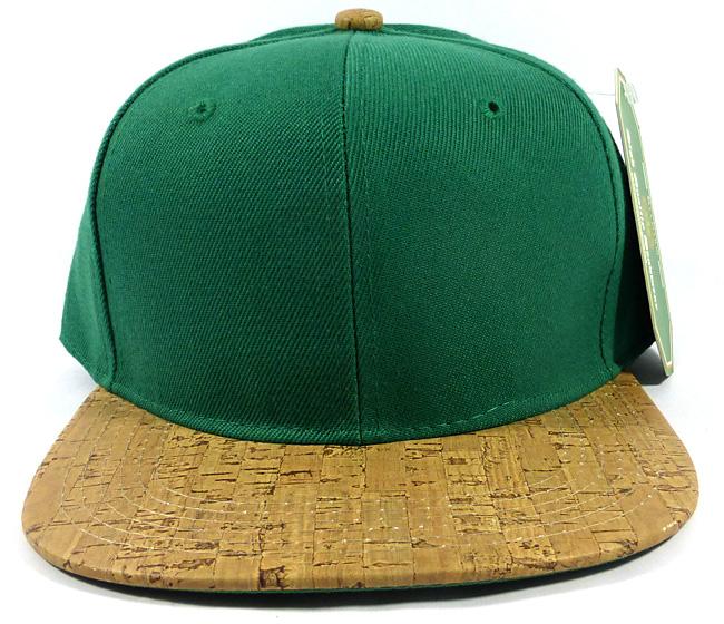 254cf8e0e2a Wholesale Plain Cork Snapback Hats - Wood Brim Caps Green
